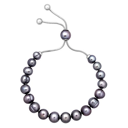 Honora 7-10 mm Freshwater Black Cultured Pearl Bolo Bead Bracelet with Slider in Stainless Steel