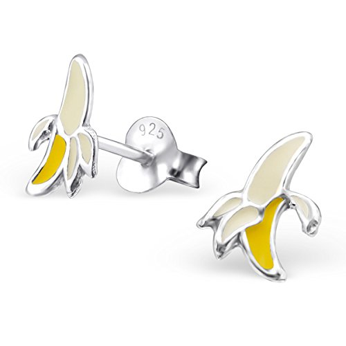 Children'S 925 Sterling Silver Banana Colorful Ear Studs With Epoxy