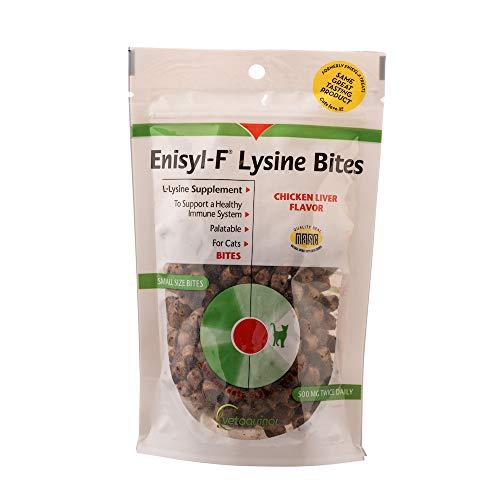 Vetoquinol Enisyl-F Lysine Bites: L-Lysine Treats for Cats & Kittens - Chicken Liver-Flavored Chews, 6.4oz (180g) Reclosable Bag