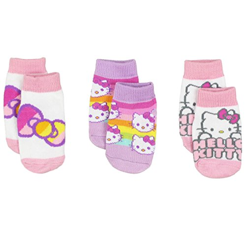 Hello Kitty Baby Girls 3 pack Gripper Socks (12-24 Months, Pink/Purple)