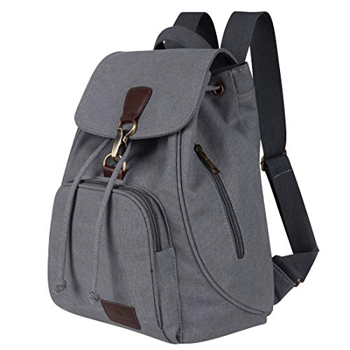 Qyoubi Womens Canvas Fashion Backpacks Purse Casual Outdoor Shopping Daypacks School Girls Travel Multipurpose Bag Grey (Backpack Small Canvas)