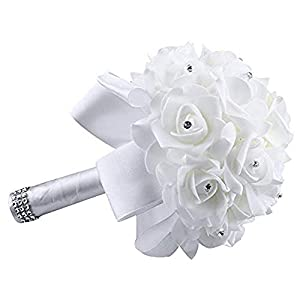 Wedding Bouquet,Gold Crystal Roses Pearl Bridesmaid Wedding Bouquet Bridal Artificial Silk Flowers for Church Yamally (2520cm, White) 81