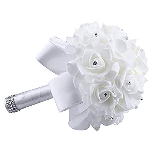 - Wedding Bouquet,Gold Crystal Roses Pearl Bridesmaid Wedding Bouquet Bridal Artificial Silk Flowers for Church Yamally (2520cm, White)