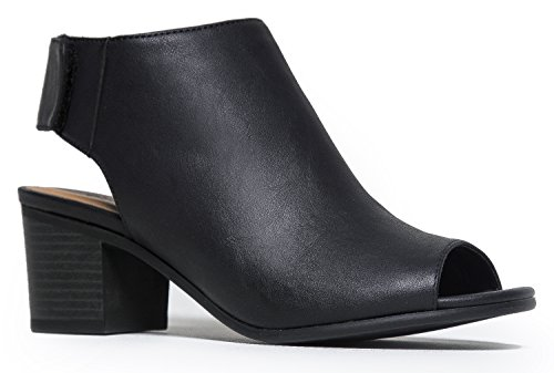 Peep Toe Bootie - Low Stacked Heel - Open Toe Ankle Boot Cutout Velcro Enclosure