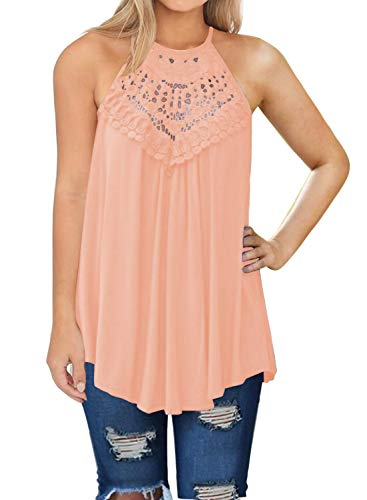 (MIHOLL Womens Summer Casual Sleeveless Tops Lace Flowy Loose Shirts Tank Tops (Small, Coral))