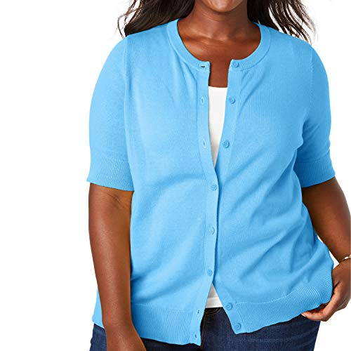 Woman Within Women's Plus Size Perfect Elbow-Length Sleeve Cardigan - Anchor Blue, ()