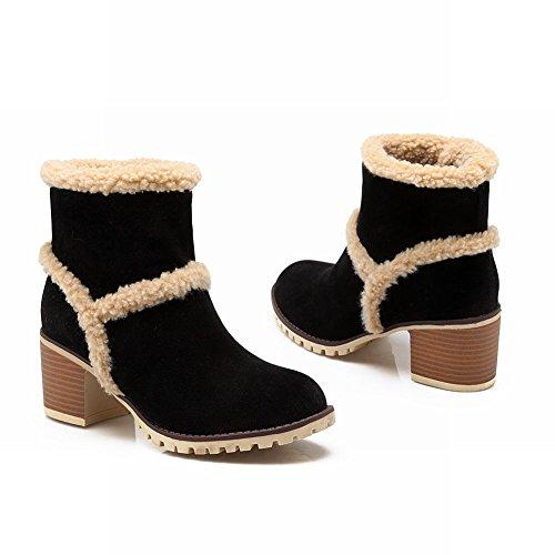 Carolbar Womens Fashion Warm Winter Charm Comfort Faux Fur Mid Heel Snow Boots Black oMHJe