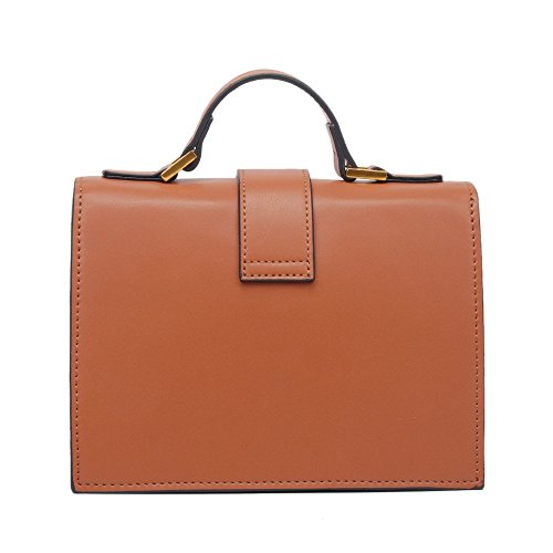 Buckle Belt Shoulder Pu Simple Asdflina Everyday Suitable Large Square For Handbag Use Bag Retro Capacity Brown I84qX