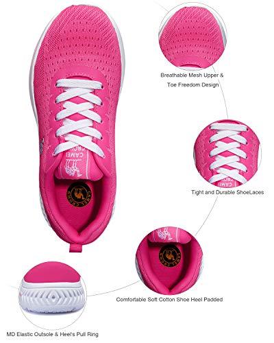 Zapatos Ligero Para Zapatillas De Roja Caminar Rosa Deporte Camel Mujer Crown Moda t0E0x8S