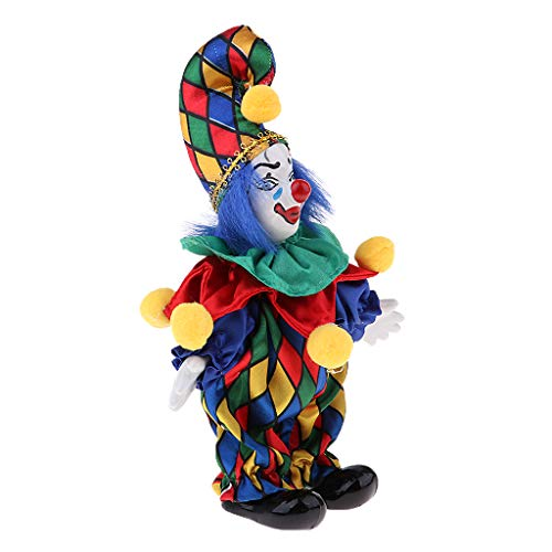 Prettyia 6inch Vintage Clown Man in Colorful Clothes Set Figure Standing Doll Home Decor #3