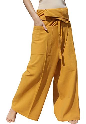 Orange Fisherman Pants - RaanPahMuang Brand Plain Thicker Muang Cotton Fisherman Wrap Pants, X-Large, Mustard Orange