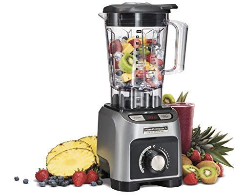 Hamilton Beach Professional 1800W Blender with 64 oz BPA-Free Shatterproof Jar, 4 Programs, LED Timer Display, Quieter Blending (58850), 2.4 Peak Horsepower, Silver