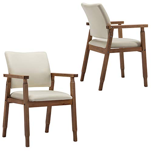Set of 2 Mid Century Modern Dining Chairs Wood Arm Beige Fabric Kitchen Cafe Living Room Decor Furniture