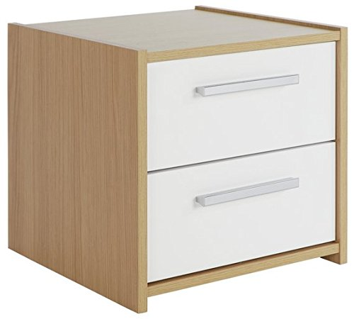 Home Source High Gloss 2 Drawer Bedside Cabinet Bedside Table Night Stand (White Oak) DP