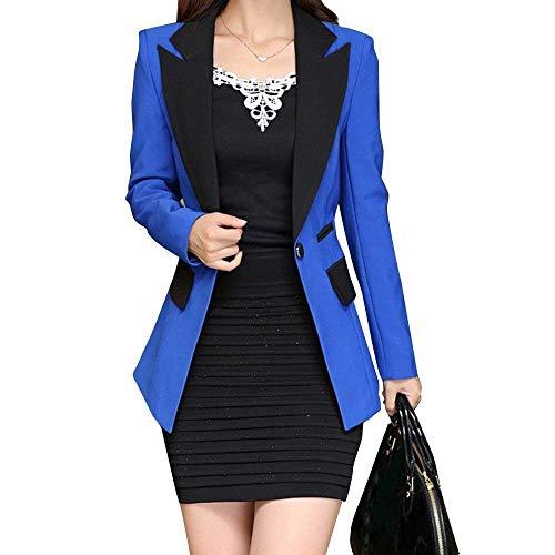 Blazer Cappotto Manica Bavero Da Primaverile Donna Lunga Slim Vintage Blue Con Eleganti Business Skinny Sudore Giacca Tailleur Fit Autunno Moda Button Tasche Royal wnxOYxRqvZ