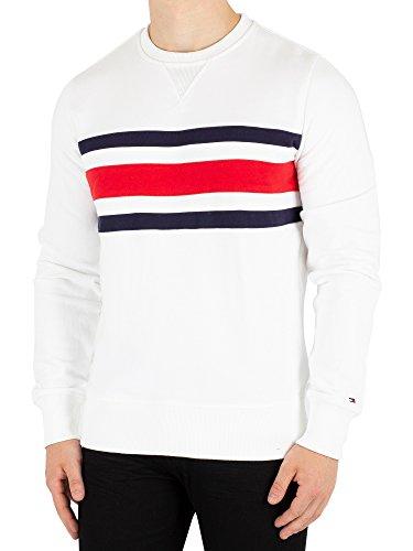 Tommy Hilfiger Men's Chest Stripe Sweatshirt White M