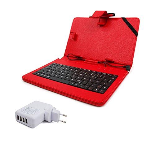 3 in 1: Deutsche Tastatur mit QWERTZ und roter Hülle für 8 Zoll Odys Junior Tab 8 Pro und 7