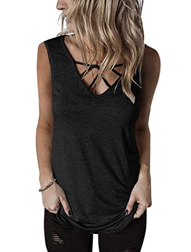 GOCHIC Womens Crisscross V Neck Top Sleeveless Summer Casual Tank T Shirts #4Black S