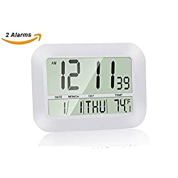 Digital Wall Clock, HeQiao Decorative Silent Desk Shelf Clocks Slim Battery Large LCD Calendar Day Temperature Snooze Alarm Clock for Home Office (2 Alarms, Ivory White)