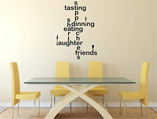 Wall Stickers Inspiring Quotes Home Art Decor Decal Mural Cooking Quotes Tasting Dining Eating Laughter Friends for Kitchen Dining Room