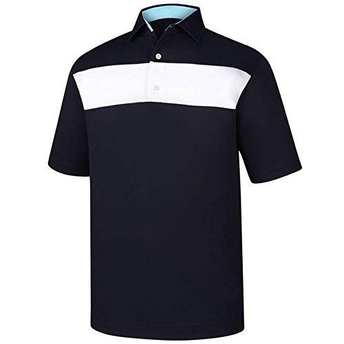 (FootJoy Smooth Pique Pieced Stripe Self Collar Golf Polo 2018 Navy/White XX-Large)