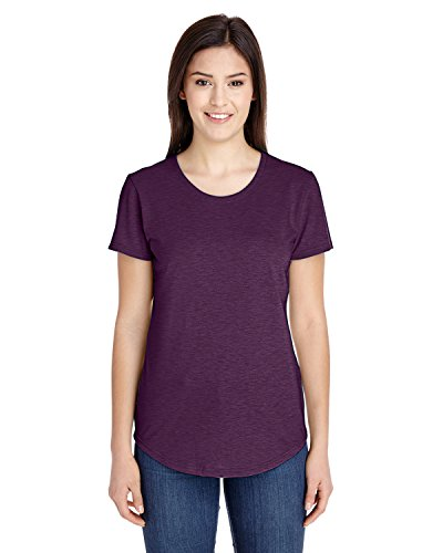 Womens Tri-Blend V-Neck Tee-Womens Short Sleeve T-Shirts by Anvil-H/Aubergine-M