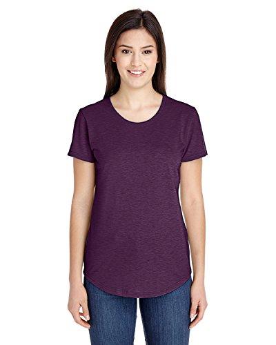 Anvil Short Sleeve T-shirt - Womens Tri-Blend V-Neck Tee-Womens Short Sleeve T-Shirts by Anvil-H/Aubergine-M