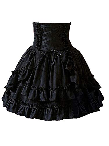 Antaina Black High-Waisted Gothic Layered Ruffled Cotton Lolita Short Skirts,S ()