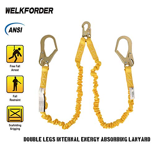 WELKFORDER Double Leg 6-Foot Fall Protection Internal Shock Absorbing Stretchable Safety Lanyard with Snap & Rebar Hook Connectors ANSI Complaint by WELKFORDER (Image #2)