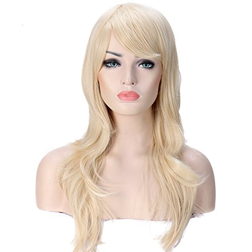 Anime Cosplay Synthetic Wig 11 Colors Japanese Kanekalon Heat Resistant Fiber Full Wig with Bangs Long Layered Curly Wavy Vogue 23'' / 58cm for Women Girls Lady Fashion and Beauty (bleach blonde) -