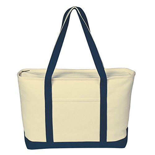 Logotastic 3235-N2 Large Heavy Cotton Canvas Boat Tote Bag, 25