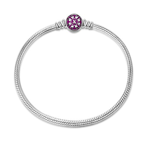 NinaQueen 925 Sterling Silver Snake Chain Bracelet with Purple Clasp Charms 7.5 Inches Fit Pandöra Bracelet Charms Christmas Gifts for Women Birthday Anniversary Gifts for Her Wife Mom Teen Girls