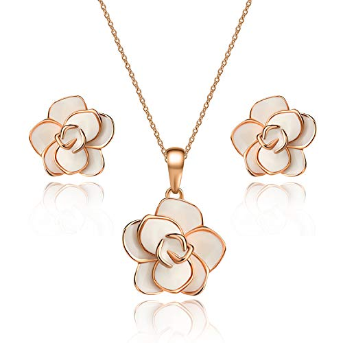 EVEVIC Rose Flower Necklace Earrings Set for Women 18K Gold Plated Jewelry Sets (White)