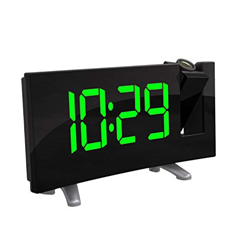Powstro Projector Clock, Digital Alarm Clock Radio Alarm Clock Snooze Timer LED Display 7.1inch Wide Curved Screen Dual Alarm USB Charge FM Radio Clock 12/24 Hours - Green