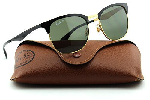 6addcf8cbe Ray-Ban RB3538 Clubmaster Unisex Metal Sunglasses (Shiny Black Frame Green  Polarized Lens 187 9A