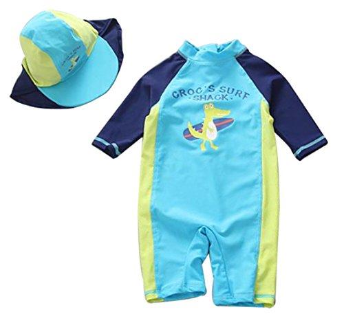 Kids Baby Boys Cartoon Dinosaurs Half Sleeve Sunsuits Sun Protection Rash Guards Swimsuit Size 9-12M - Half Long Sleeve