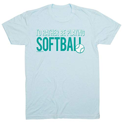 - ChalkTalkSPORTS I'd Rather Be Playing Softball T-Shirt | Softball Tees Light Blue | Youth X-Large