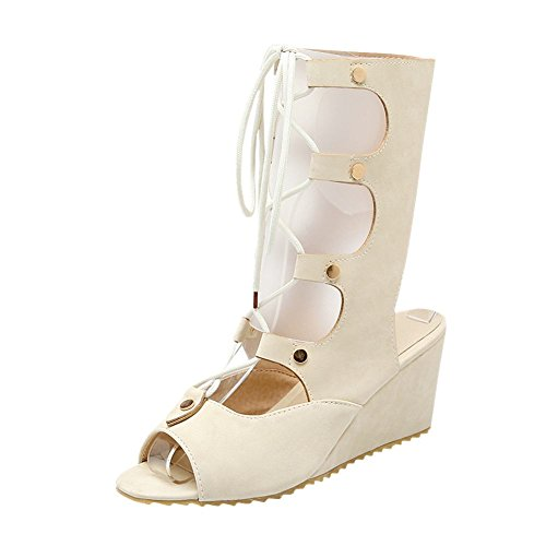 Carolbar Womens Lace-up Bandage Söt Mode Peep-toe Gladiator Stil Kilklack Klänning Sommar Stövlar Beige