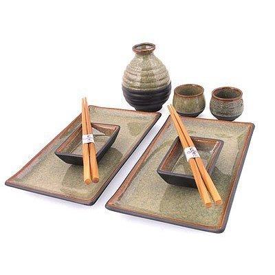 M.V. Trading MKQ7BRV Japanese Blue Sushi Plate Set and Sake Set for Two, Brown by M.V. Trading