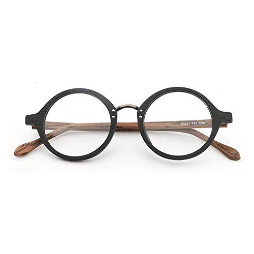 Hommes Femmes Lunettes en bois - Transparents Lunettes Cadre - Lunettes rondes - hibote #18020707 C2