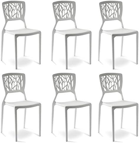 Designetsamaison Lot de 6 chaises Blanches Verdi