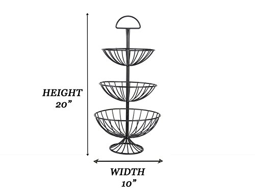 Useful. UH-FB177 3 Tier Decorative Wire Fruit Basket Countertop Stand (Black, Small)