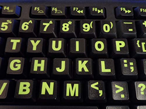 Keyboard Stickers with Fluorescent Inlays Plus USB Light. Extra Large Symbols. Inlays (Not Printed). Will Not Wear or Fade. U.S. English Laptop & - Lettering Inlay Decal