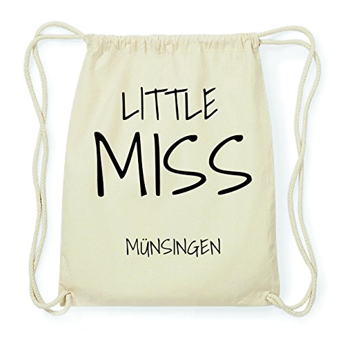 JOllify MÜNSINGEN Hipster Turnbeutel Tasche Rucksack aus Baumwolle - Farbe: natur Design: Little Miss