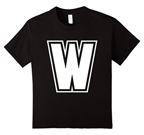 [Kids Letter W T-Shirt - More Colors & Letters Available 4 Black] (Letter W Halloween Costumes)
