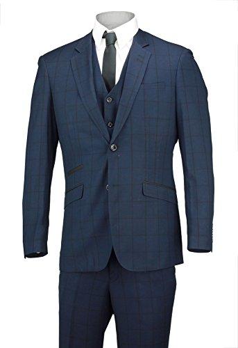 - Bleu carreaux pour homme 3 pièces Pantalon de survêtement Blazer deux boutons pour mariage ou bal de travail