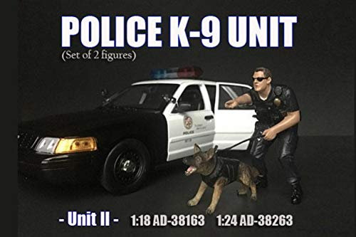 American Diorama Police Officer K9 Dog Unit II, Black 38264 - 1/24 Scale Figurine - Diorama Accessory