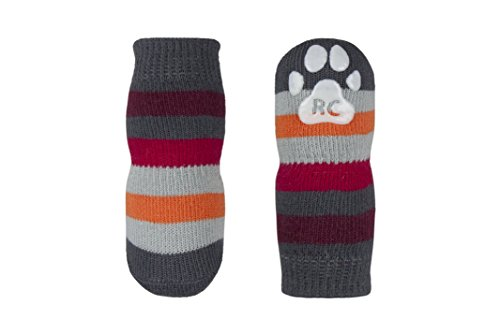 RC Pet Products Pawks Dog Socks, X-Large, Grey Stripes