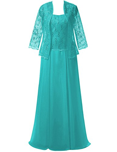 Chiffon Long Mother of The Bride Dresses Evening Prom Gowns Lace Jacket Maxi Formal Dress US 10 Jade