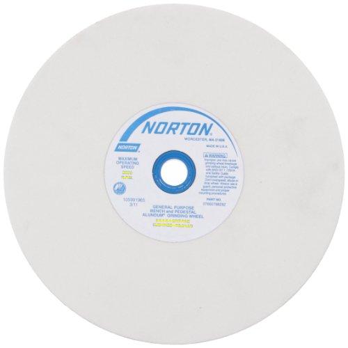 Norton Premium White Bench and Pedestal Abrasive Wheel, Type 01 Straight, Aluminum Oxide, 1